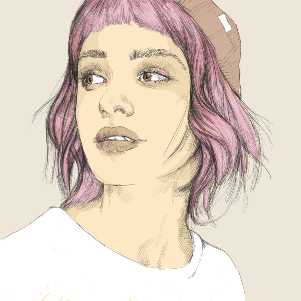 portrait of a girl with a beanie.