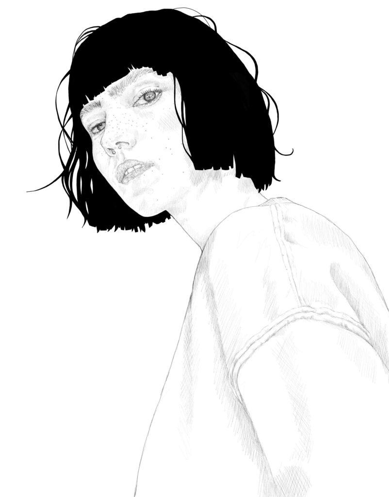 woman portrait, black and white version